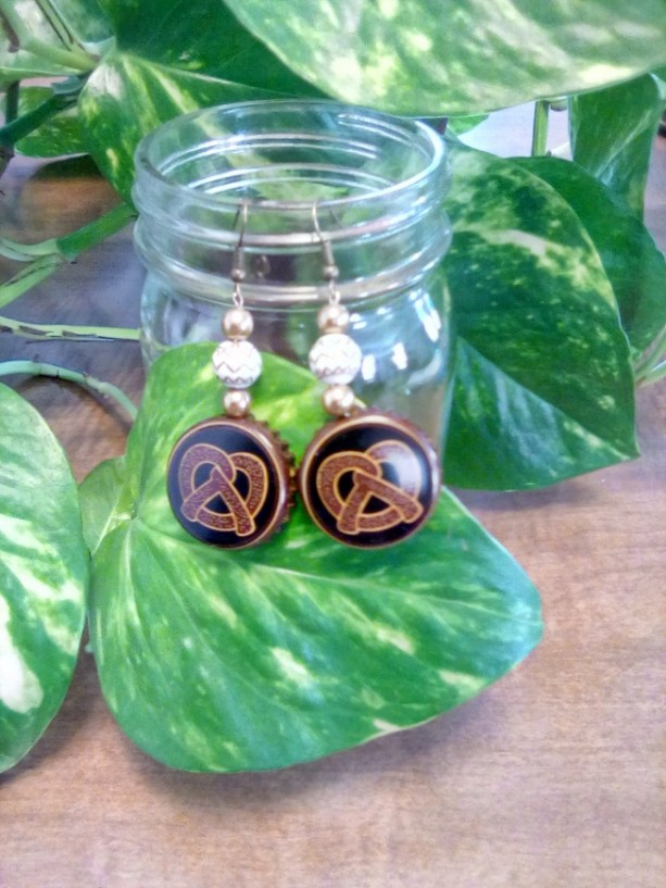 Pretzel Bottle Cap Earrings