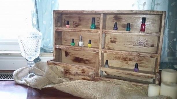 Antiqued spice rack nail polish holder shelf