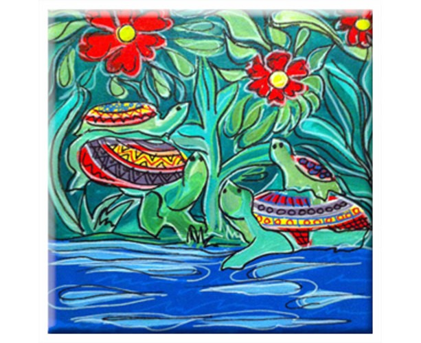 Mexican Folk Art - TURTLES - TILE Signed By Artist A.V.Apostle