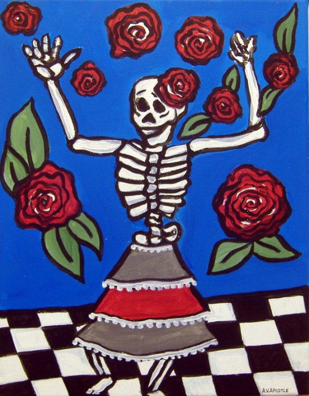 Mexican Folk Art - DAY of the DEAD, Female Skeleton - PRINT Signed By Artist A.V.Apostle