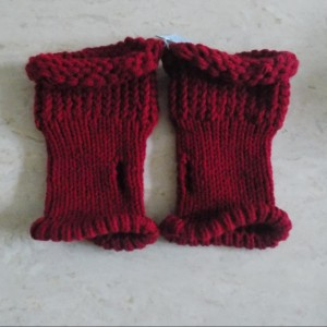 Cranberry Knit Fingerless Gloves
