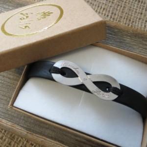 Men's Infinity Bracelet - Men's Personalized Bracelet - Engraved Men's Bracelet - Customized Men Bracelet - Men's Initials Bracelet - Custom
