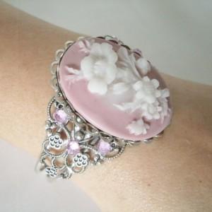 Pink Flower Cuff Bracelet