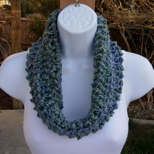 Small Summer Scarf, Blue Summer Cowl, Short Blue Scarf, Gray Crochet Scarf, Teal Knit Cowl, Small Infinity Scarf, Blue Gray, Ready to Ship in 2 Days