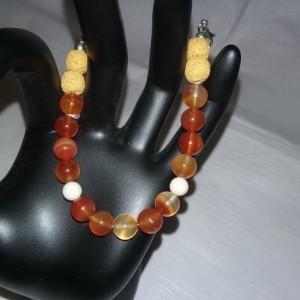 Carnelian Gemstones w/Lava Stone Diffuser Bracelet