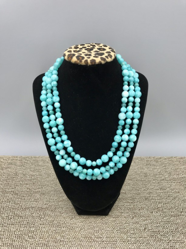 Chunky Blue Jade Statement Necklace, Chunky Necklace, Jade Chunky Necklace, Blue Beaded Necklace, Multi Strand Blue Statement Necklace