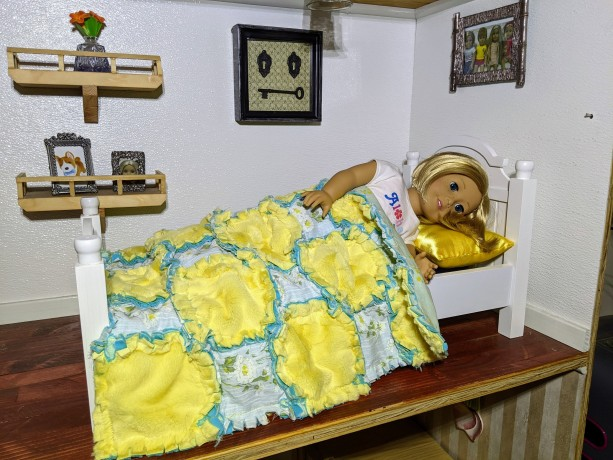 American Girl Doll Rag Quilt with Matching Pillows Handmade, Yellow, White, and Blue
