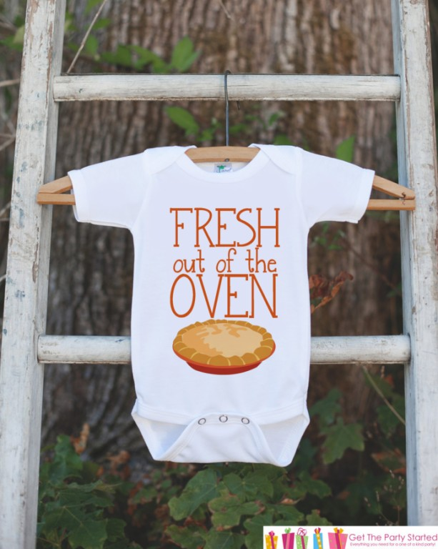 Newborn Thanksgiving Outfit - Fresh Out Of The Oven - Infant Onepiece - Baby Bodysuit or Shirt - Baby's 1st Thanksgiving - Baby Boy or Girl