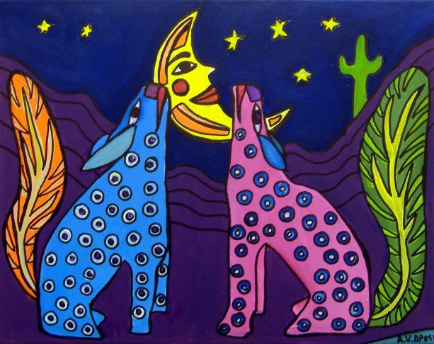Mexican Folk Art-2 Coyotes- PRINT Signed By Artist A.V.Apostle