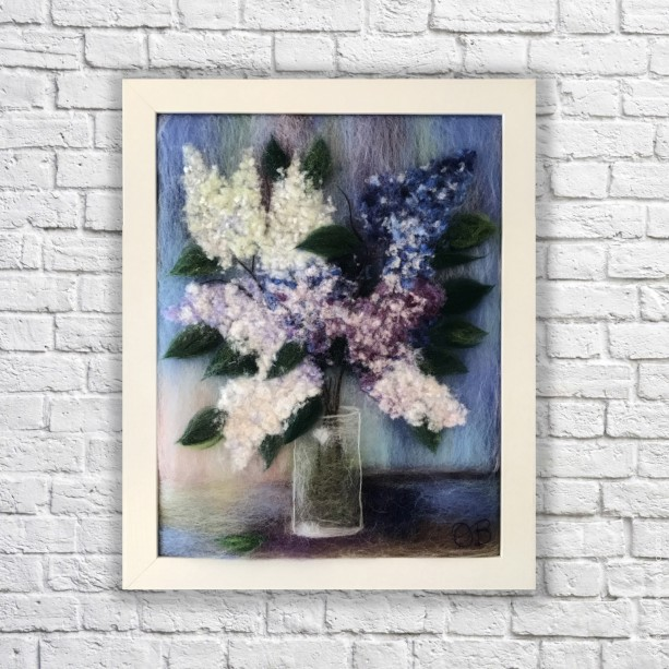 "Wool Painting ""Bouquet of lilacs"""