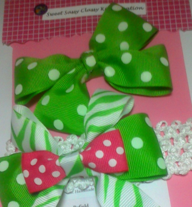 2 pcs Set Little Princess PolkaDot Hairbow with matching headbandSet