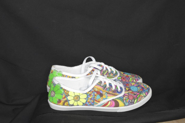 designed and painted and colored canvas shoes