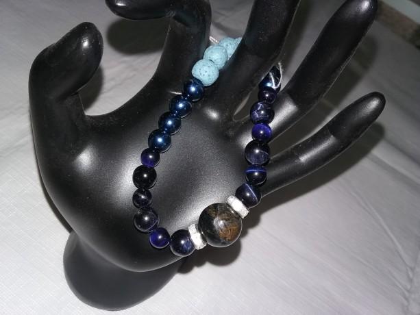 Blue Tiger Eye Gemstone w/Lava Stone Diffuser Bracelet