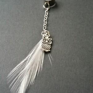 White Feather Ear Cuff w/ Silver Owl Charm  - Earcuffs - Earring