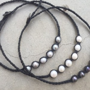 SALE! Braided Black Linen cord and Freshwater pearls
