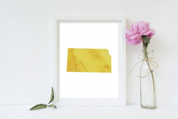 Watercolor Kansas Print (Multiple Colors) - 8x10