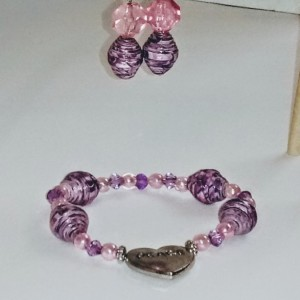 """Purple, Pink, and Peace"" Earring and Bracelet Set"