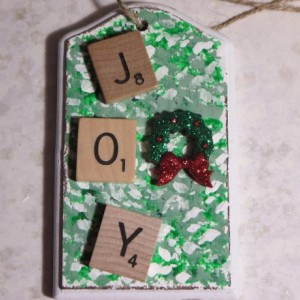 Scrabble® Game Tile Christmas Ornament (FREE SHIPPING!) Joy Green