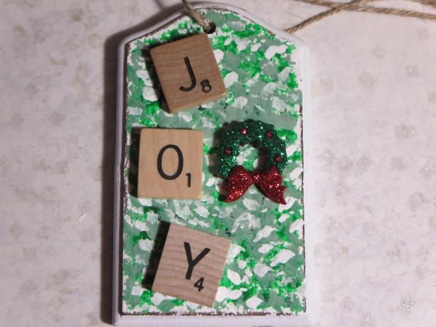 Scrabble® Game Tile Christmas Ornament (FREE SHIPPING!) Joy Green