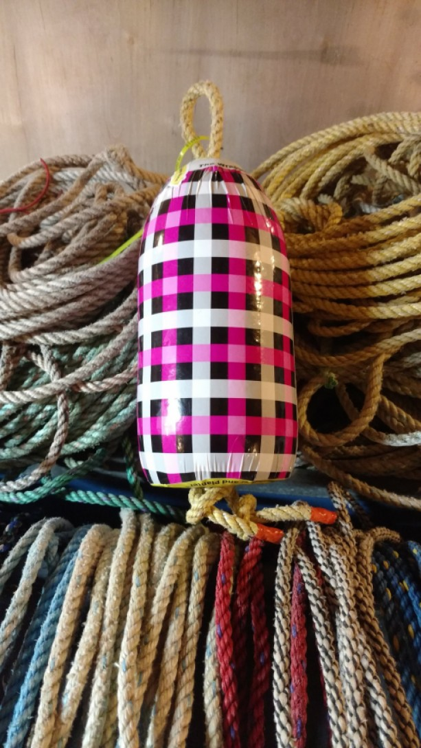 Pink plaid! A real Maine lobster buoy!