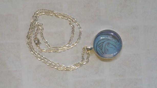 Madonna del Silenzio circle pendant and necklace, silver plated