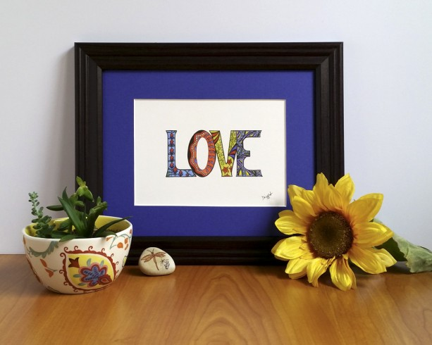 "Love Fine Art Print, ""Love"" Artwork, Inspirational ""Love"" Art Illustration, Zen Reminder Art, Colored Pencil Love, Romantic Art Gift"