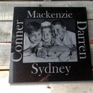 12x12 Personalized Memorial Stone Custom black Granite Personalised Grave Marker Garden Stone