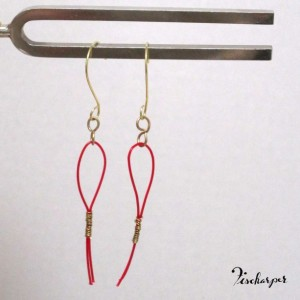 Henriette earrings - red & gold - upcycled harp strings
