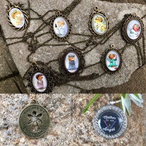 Loss Mother, Pregnancy and Infant Loss Pendant, Charm, Angel Jewelry,  Glass Cabochon, Rhinestone
