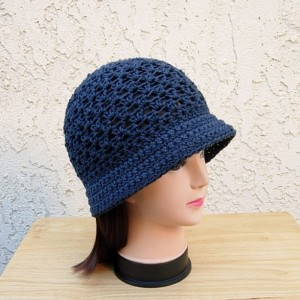 Solid Dark Navy Blue Lightweight Summer Hat with Brim 100% Cotton Lacy Cloche Women's Crochet Knit Bucket Chemo Cap, Ready to Ship in 3 Days