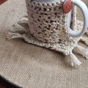 Mug wrap cozy and cup coaster matching set