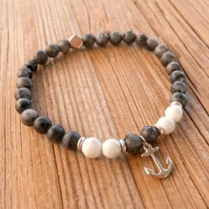 Men's Beaded Bracelet - Men's Anchor Bracelet - Men's Cuff Bracelet - Men's Bracelet - Men's Jewelry - Men's Gift - Husband Gift - Boyfriend