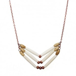 Handmade White 3 Row Buffalo Bone Hairpipe Beads Tribal Breastplate Style Necklace
