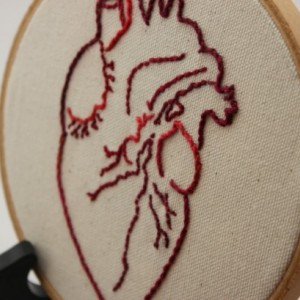 Anatomical Heart Modern Embroidery Hoop Wall Hanging Decor.