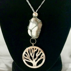 "HOWLITE Healing Crystal with a Silver ""Tree of Life"" Charm"