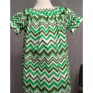 Green Chevron Peasent dress