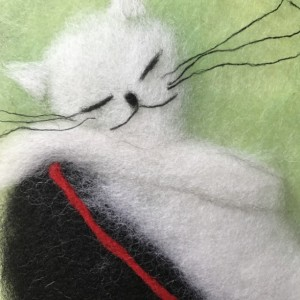"""Wool Painting """"Cat on the shoe"""""""