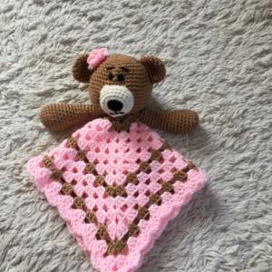 Bear Lovey Baby Blanket, Comfort Blanket, Security Blanket, Baby Shower Gift