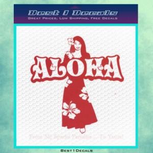 Aloha Lady Hawaii Decal Bumper Sticker Vinyl