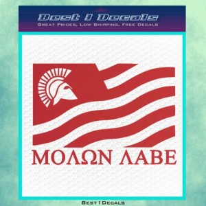 Molon Labe Flag Helmet Decal Bumper Sticker