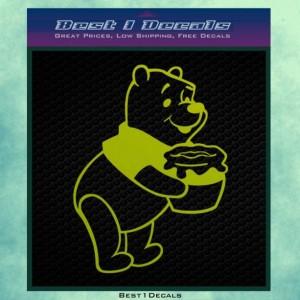 Pot of Honey Gold and a Bear Cartoon Decal Bumper Sticker