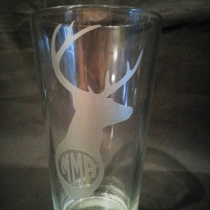 Deer Monogram Glass,Etched Beer Glass, Hunters Monogram, Rustic Monogrammed Pint Glass
