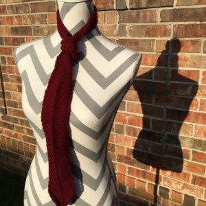 Handknit Thick Necktie - Deep Red
