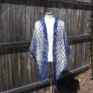 Midnights Dream Shawl - wedding shawl - summer shawl- handmade in the USA by Twisted Blossom Design