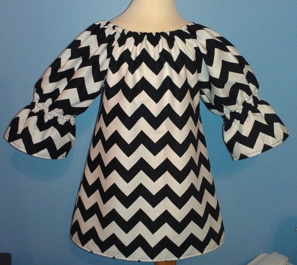 Black And White Chevron Peasent Dress