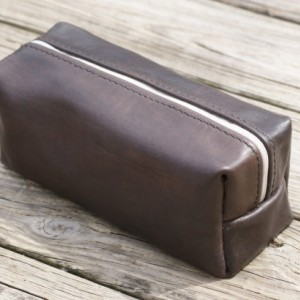 Leather toiletry case, Leather travel bag, Leather dopp kit, Men's leather toiletry bag