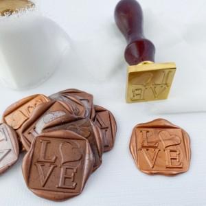 10 Pack: Square LOVE Wax Seals, Self Adhesive