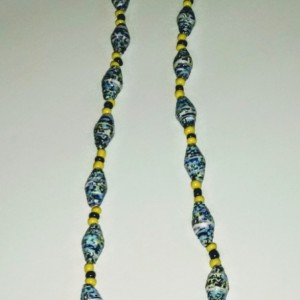 """Blue Bee"" Paper Bead Necklace"
