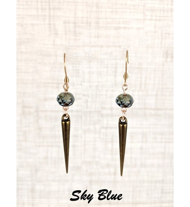 The Ivy | handmade spike bead earrings, stainless steel, blue glass beads, bronze spikes, brass spikes, acrylic, Czech glass, Gifts for Her