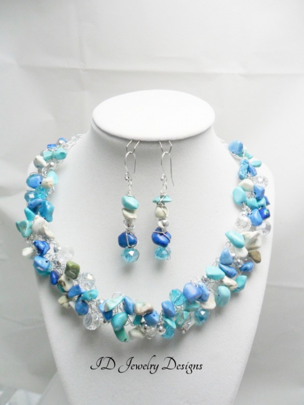Wire crochet Necklace and Earring Set,wire Jewelry ,crochet stone Jewelry,Bib Necklace